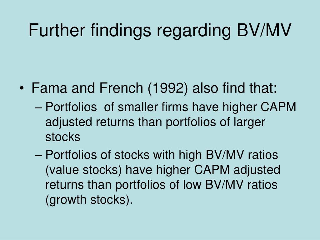 Further findings regarding BV/MV