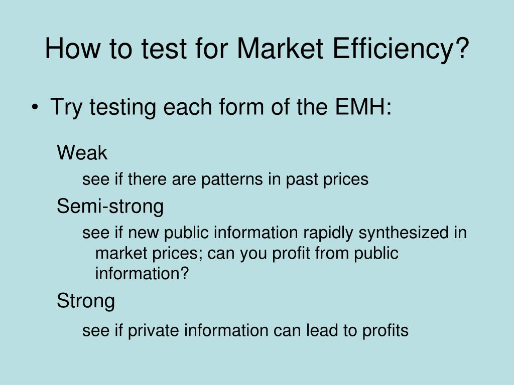 How to test for Market Efficiency?