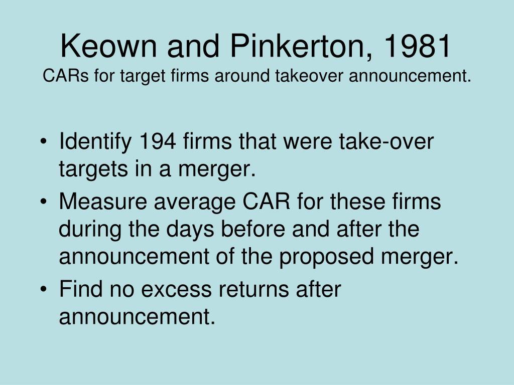 Keown and Pinkerton, 1981