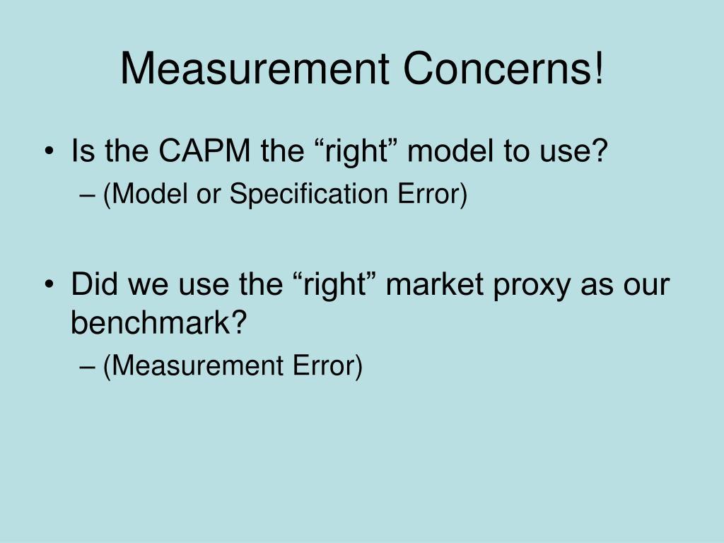 Measurement Concerns!