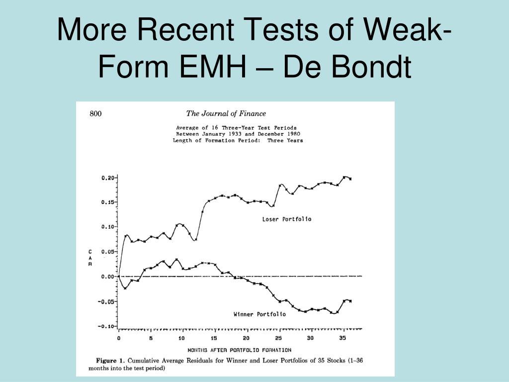 More Recent Tests of Weak-Form EMH – De Bondt