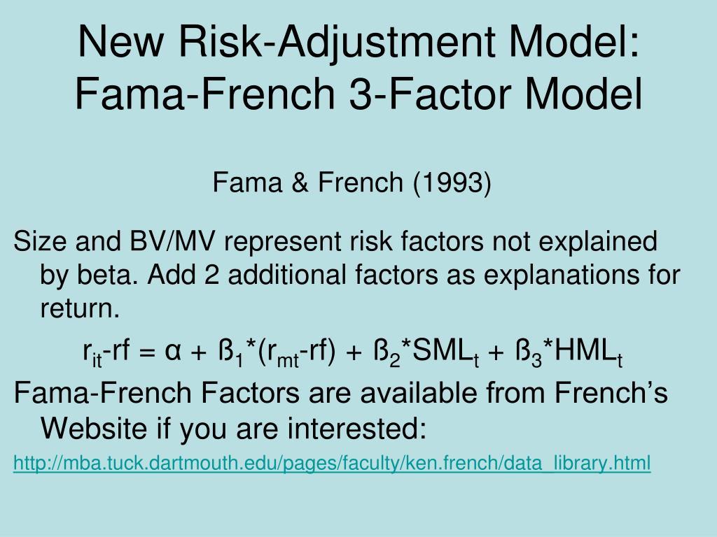 New Risk-Adjustment Model:  Fama-French 3-Factor Model