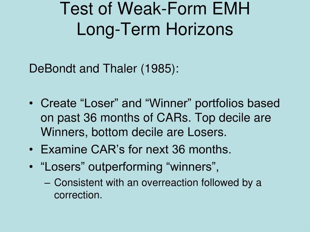 Test of Weak-Form EMH
