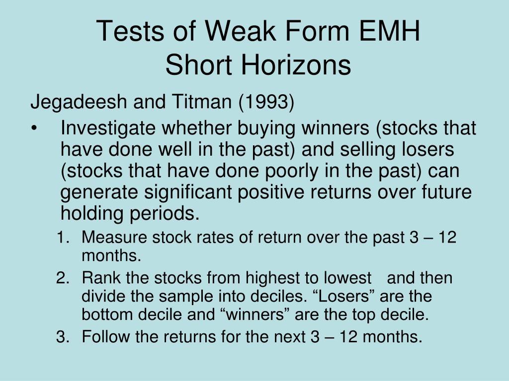 Tests of Weak Form EMH