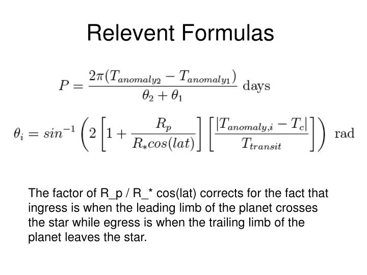 Relevent Formulas