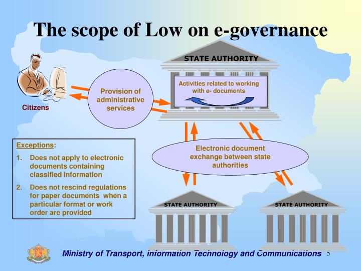 The scope of Low on e-governance
