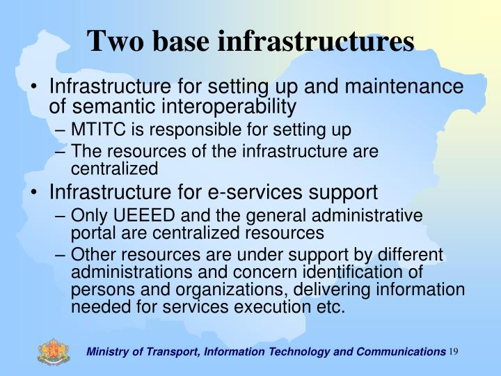 Two base infrastructures