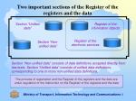 two important sections of the register of the registers and the data