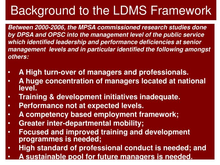 Background to the LDMS Framework