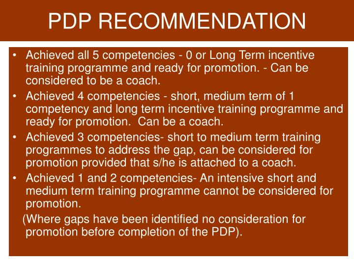 PDP RECOMMENDATION