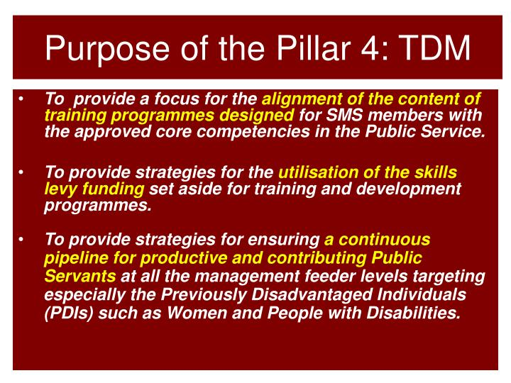 Purpose of the Pillar 4: TDM