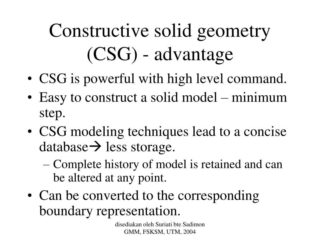 Constructive solid geometry (CSG) - advantage