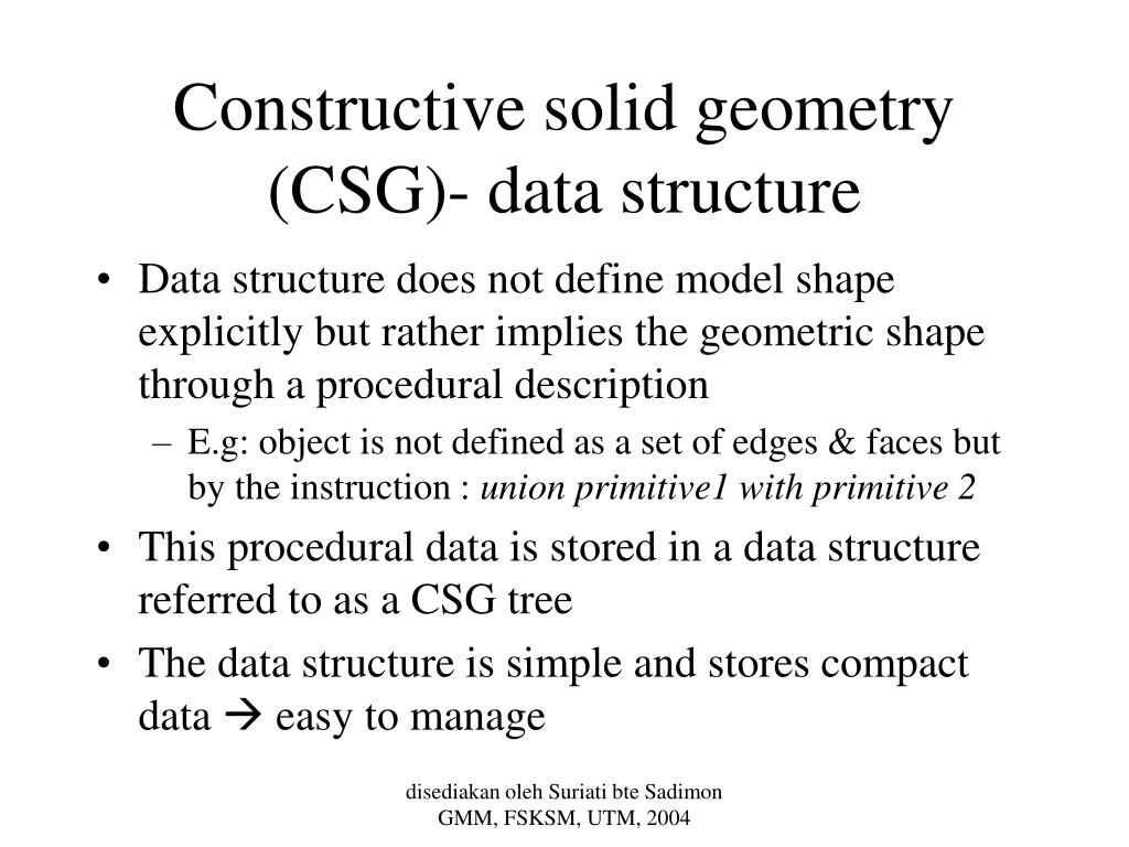 Constructive solid geometry (CSG)- data structure