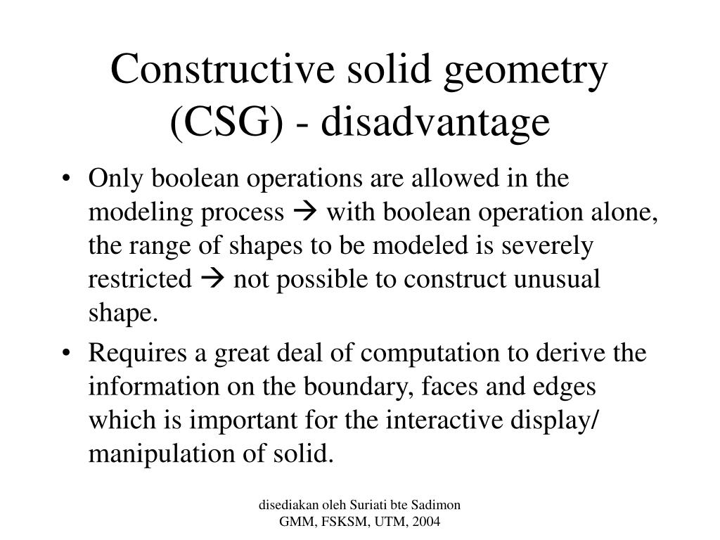 Constructive solid geometry (CSG) - disadvantage