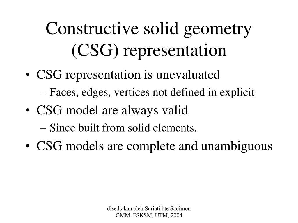 Constructive solid geometry (CSG) representation