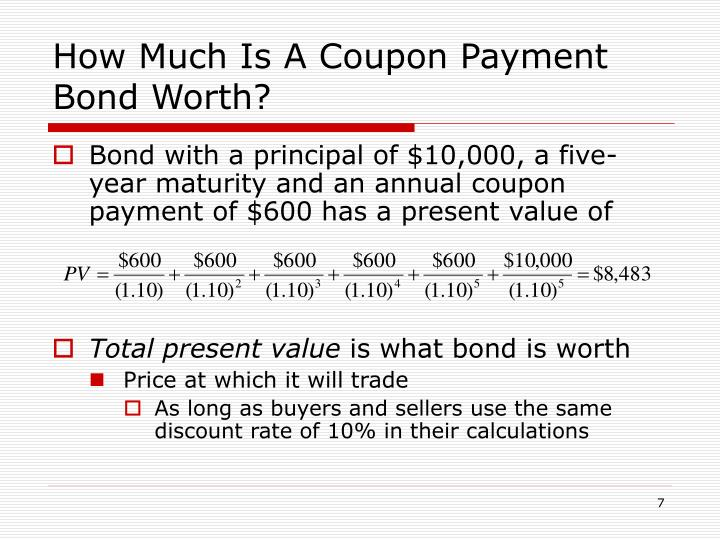 How Much Is A Coupon Payment Bond Worth?