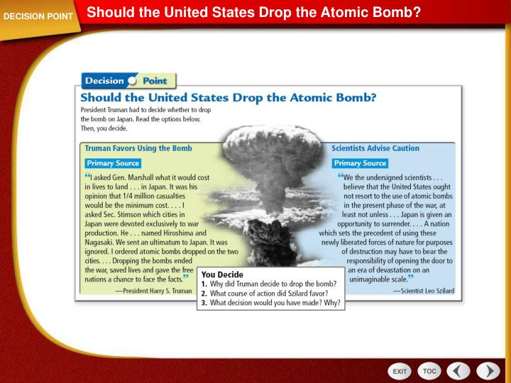 decision to drop atomic bomb