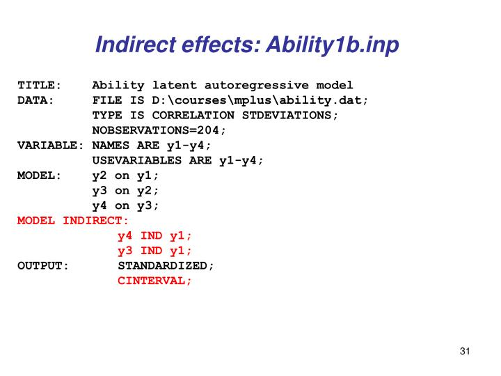 Indirect effects: Ability1b.inp