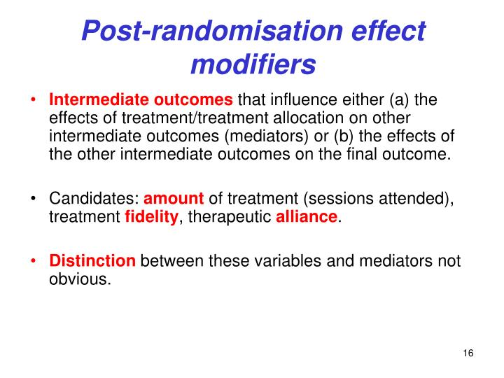 Post-randomisation effect modifiers