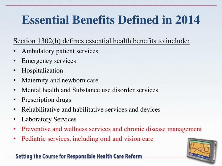 Essential Benefits Defined in 2014
