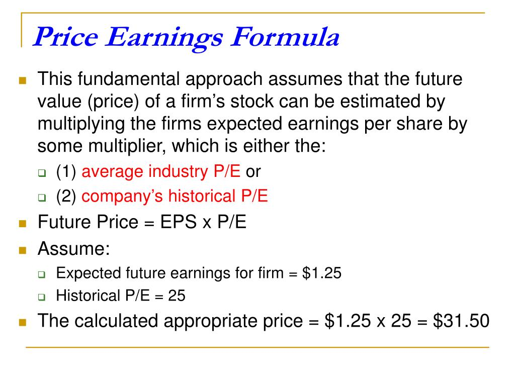 Price Earnings Formula