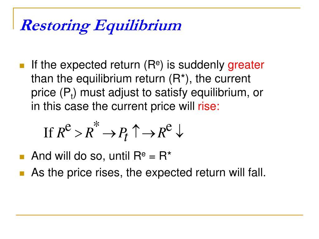 Restoring Equilibrium