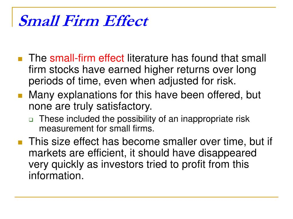 Small Firm Effect