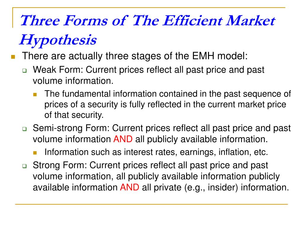Three Forms of The Efficient Market Hypothesis