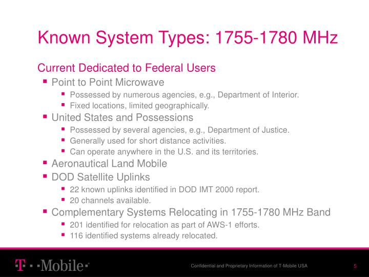 Known System Types: 1755-1780 MHz