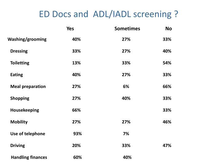 ED Docs and  ADL/IADL screening ?