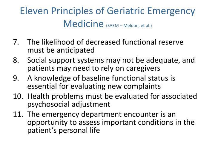 Eleven Principles of Geriatric Emergency Medicine