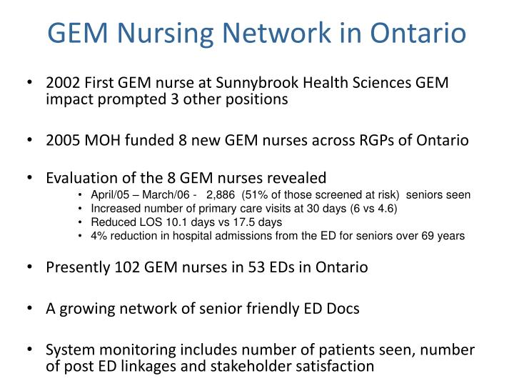 GEM Nursing Network in Ontario