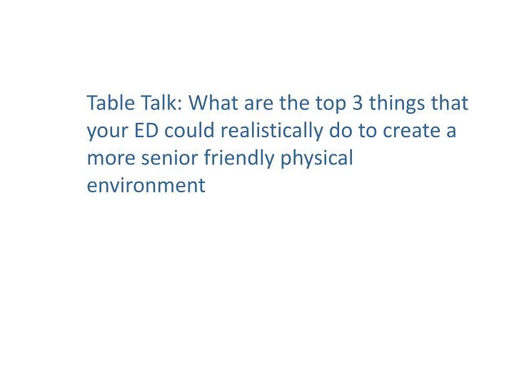 Table Talk: What are the top 3 things that your ED could realistically do to create a more senior friendly physical environment