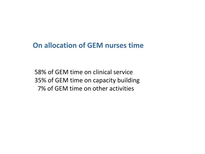 On allocation of GEM nurses time