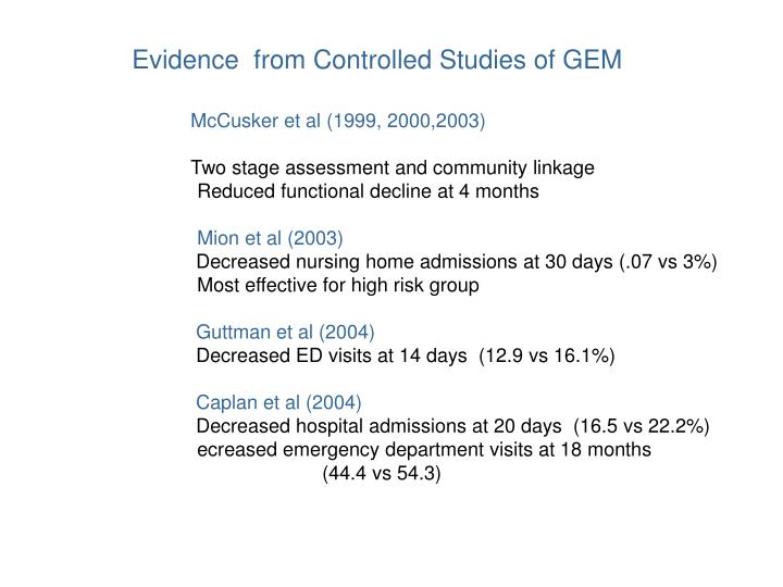 Evidence  from Controlled Studies of GEM
