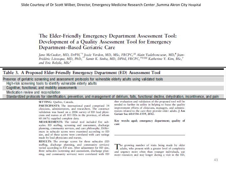 Slide Courtesy of Dr Scott Wilber, Director, Emergency Medicine Research Center ,Summa Akron City