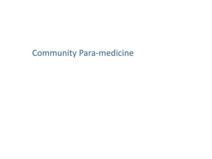 Community Para-medicine