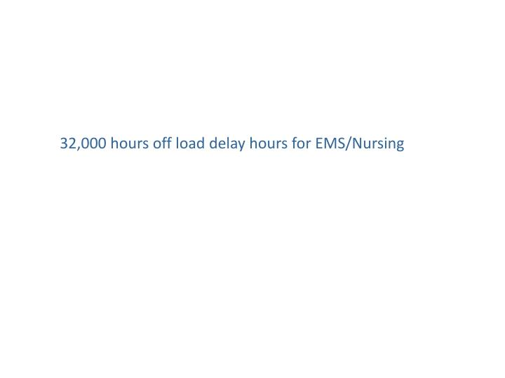 32,000 hours off load delay hours for EMS/Nursing