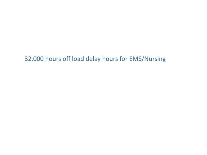 32,000 hours off load delay hours for EMS/Nursing