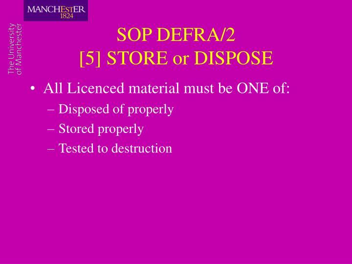 SOP DEFRA/2