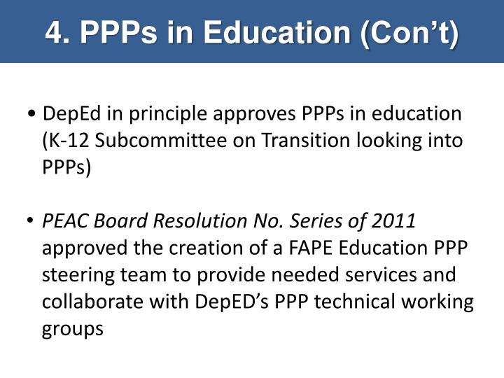 4. PPPs in Education (