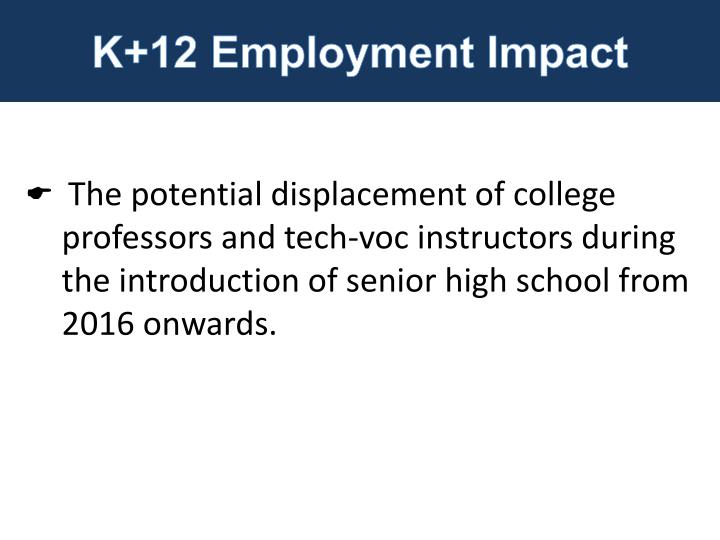 K+12 Employment Impact