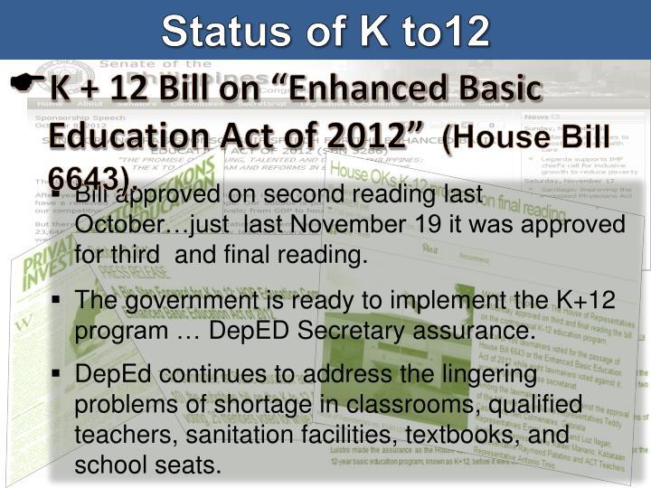 Status of K to12