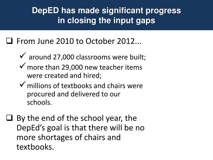 DepED has made significant progress