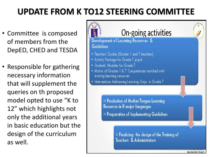 UPDATE FROM K TO12 STEERING COMMITTEE