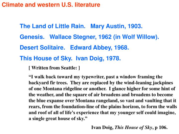 Climate and western U.S. literature
