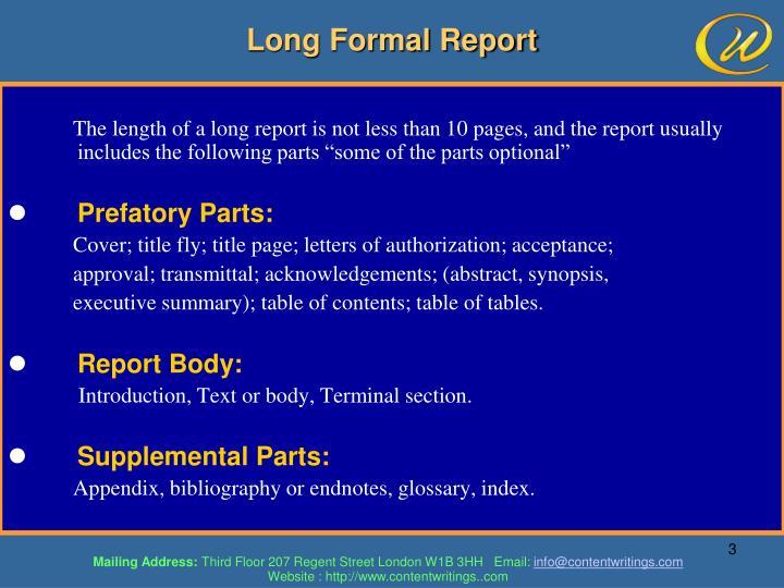 Long Formal Report