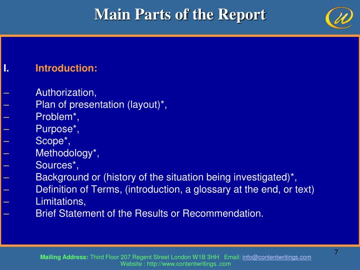 Main Parts of the Report