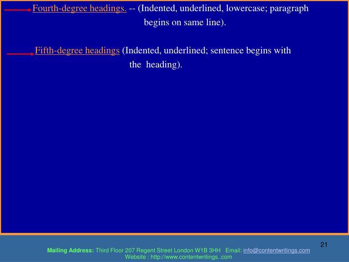 Fourth-degree headings.