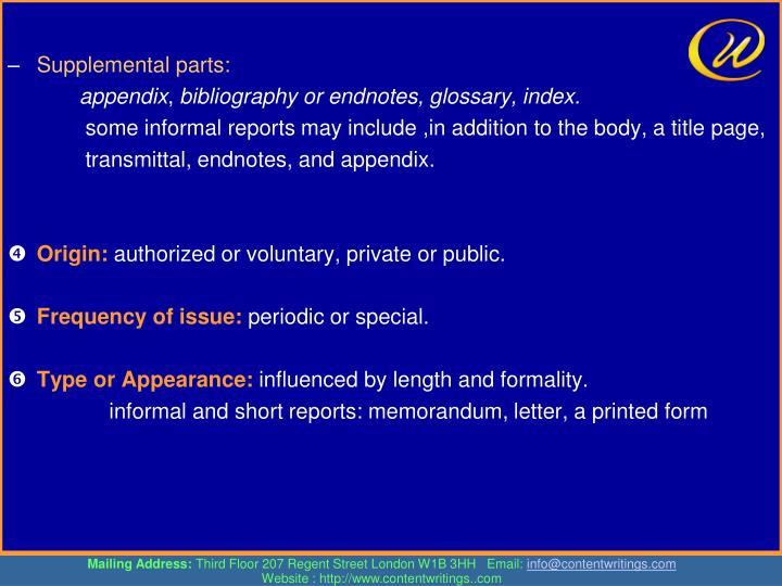 Supplemental parts: